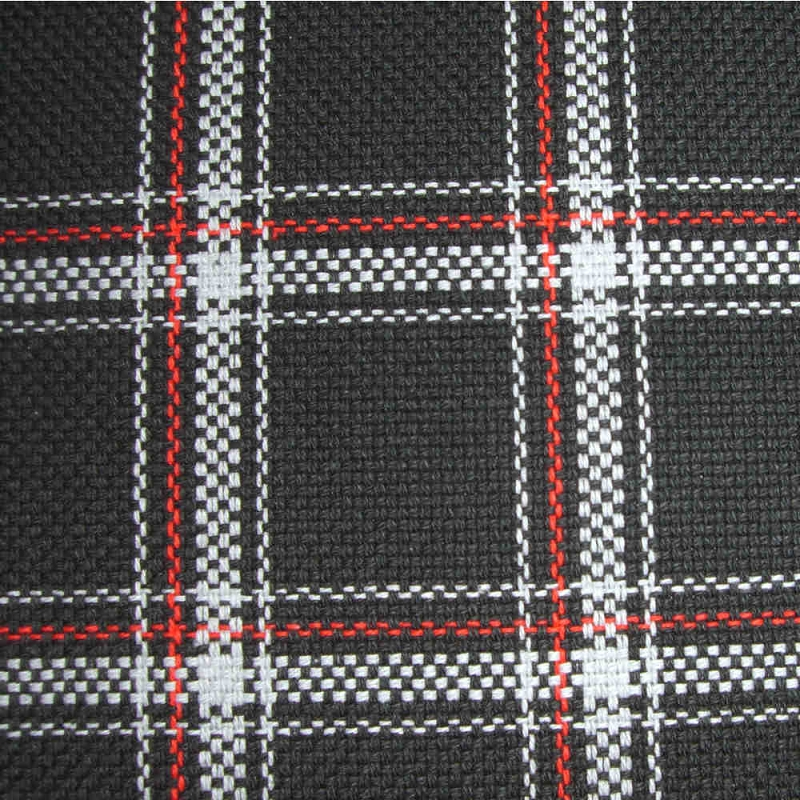 Upholstery By Linear Yard White Black Red Plaid