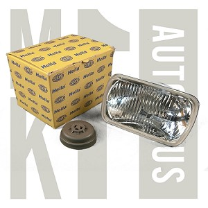 200mm Square H4 Hella E Code Headlamp Lens - Kit Comes With 2 Lamps - Boots + Hella H4 Bulbs - Fluted Glass, 79567 x2 78155 x2