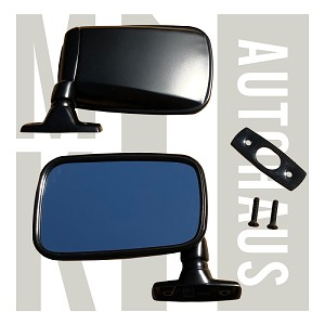Satin Black Flag Mirror - Left - All Stainless Steel - Incl. S/S Screws & Seals - Mk1 Originals    , 171 857 501A