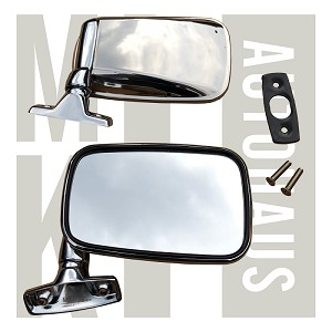 Chrome Flag Mirrors - Pair - All Stainless Steel - Incl. S/S Screws & Seals - Mk1 Originals , 171 857 501B & 171 857 502C