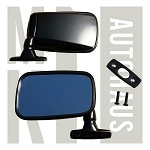 Satin Black Flag Mirrors - Pair - All Stainless Steel - Incl. S/S Screws & Seals - Mk1 Originals