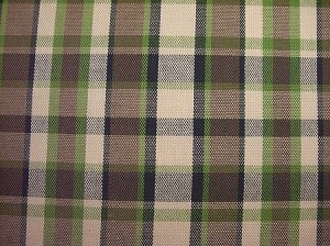 NOS Westy Brown/Green - Plaid Upholstery , Brown / Green Plaid Upholstery - 1 Yard