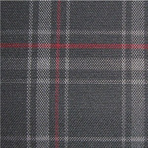 Upholstery by Linear Yard - Grey / Black / Red Plaid, VOLK18918